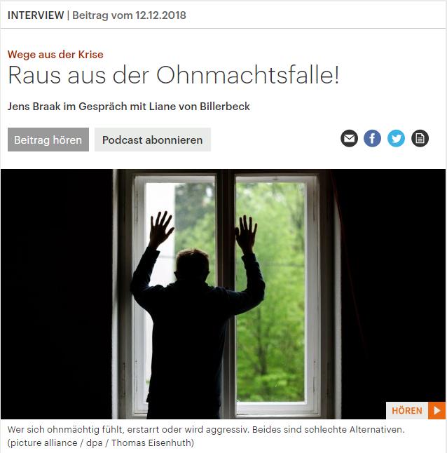 Deutschlandfunk Kultur Interview | Raus aus der Ohnmachtsfalle